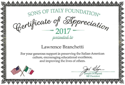 Sons of Italy Certificate of Appreciation